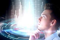 Concept de jeune homme et de cyberespace Image libre de droits