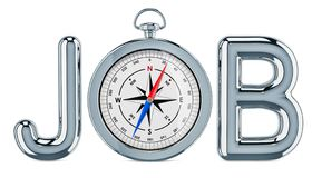 Concept de Job Search, avec la boussole rendu 3d illustration de vecteur