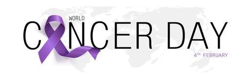 Concept de jour de Cancer du monde Ruban de lavande Illustration de vecteur illustration de vecteur