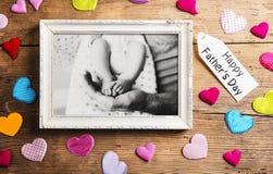 Concept de jour de pères, photo noire et blanche Projectile de studio Photo stock