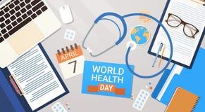 Concept de jour de santé du monde de médecin Workplace Top View Photos stock