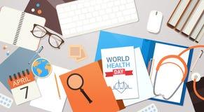 Concept de jour de santé du monde de médecin Workplace Top View Image stock