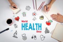 Concept de jour de santé du monde Fond de mode de vie de Healty Le meeti image stock