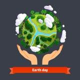 Concept de jour de terre Mains humaines tenant le globe illustration stock