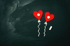 Concept de jour du ` créatif s d'amour ou de Valentine avec des ballons au coeur Photo stock