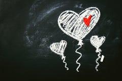 Concept de jour du ` créatif s d'amour ou de Valentine avec des ballons au coeur Images libres de droits