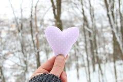 Concept de jour du ` s d'hiver, d'amour ou de Valentine Remettez tenir un coeur sur le fond de la forêt Image libre de droits
