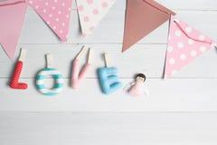 Concept de jour et d'amour de valentines, alphabets fabriqués à la main de DIY de l'amour Image libre de droits