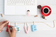 Concept de jour et d'amour de valentines, alphabets faits main de DIY de l'amour, Photographie stock libre de droits