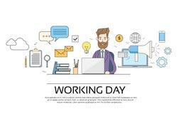 Concept de jour ouvrable d'homme d'affaires utilisant le bureau se reposant d'ordinateur portable illustration stock
