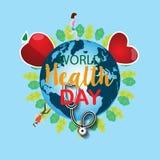 Concept de jour de santé du monde avec le lettrage d'aspiration de main et l'illustration saine de mode de vie Vecteur Illustrati Images stock