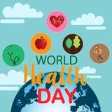 Concept de jour de santé du monde avec le lettrage d'aspiration de main et l'illustration saine de mode de vie Vecteur Photo libre de droits