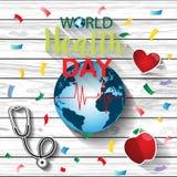 Concept de jour de santé du monde avec le lettrage d'aspiration de main et l'illustration saine de mode de vie Vecteur Image libre de droits