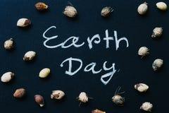 Concept de jour de terre, écriture de mot de jour de terre sur le tableau avec national images libres de droits