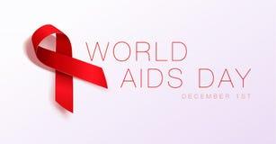 Concept de Journ?e mondiale contre le SIDA Facilite la conscience Ruban rouge r?aliste Conception d'affiche de calligraphie Illus illustration stock