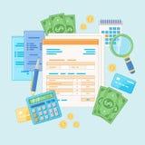 Concept de journalisation Paiement et facture d'impôts Analyse financière, prévoyant Documents, formes Photo stock