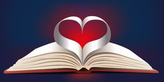 Book forming a heart with its pages stock illustration