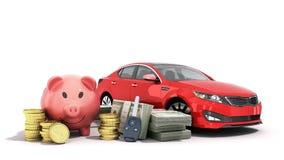 Concept de l'épargne pour acheter un porc d'argent de voiture billets d'un dollar dans les piles Photo libre de droits