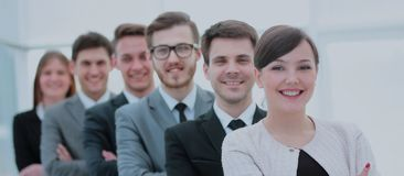 Concept de l'équipe professionnelle : une équipe réussie d'affaires stan Image stock