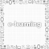 Concept de l'étude à distance Ensemble de ligne mince icônes d'éducation dans le noir Dirigez le calibre de bannière avec la lign Photo stock