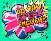 Concept de l'anglais studing Vous parlez l'anglais et la bulle de mot avec le drapeau britannique illustration libre de droits