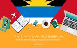 Concept de l'Antigua-et-Barbuda de visite pour votre Web Photo stock