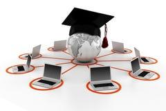 concept de l'apprentissage sur internet 3d, d'isolement sur le blanc Images libres de droits