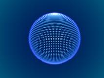 Concept de l'espace de Cyber : sphère 3d numérique se composant des particules rougeoyantes Illustration Libre de Droits