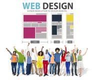 Concept de l'information de media d'idées de site Web de réseau de web design Photos libres de droits