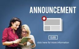 Concept de l'information de mise à jour d'annonce de bulletin d'information d'actualités image libre de droits