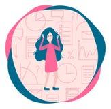 Concept de l'information de surcharge Femme et beaucoup d'information, GR illustration stock