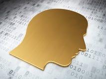 Concept de l'information : Tête d'or sur le fond numérique Image libre de droits