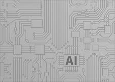 Concept de l'intelligence artificielle/AI comme fond avec l'unité centrale de traitement/puces Photo stock