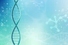Concept de la biochimie avec la molécule d'ADN sur le fond de couleur Fond de concept de la Science illustration libre de droits