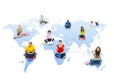 Concept de la Communauté d'amitié de télécommunications mondiales Photographie stock