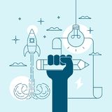 Concept de la créativité et l'inspiration par écrit ou le dessin Images libres de droits