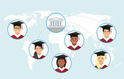 Concept de la distance en ligne et de l'éducation d'apprentissage en ligne Illustration Stock