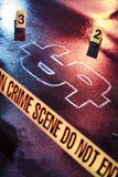Concept de la faillite avec une scène du crime photographie stock