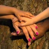 Concept de la famille de diversité Quatre mains ensemble Images stock