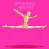 Concept de la gymnastique avec le mannequin humain en bois Photo libre de droits