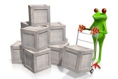 Concept de la livraison avec la grenouille 3D Photos libres de droits