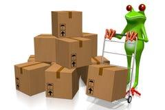 Concept de la livraison avec la grenouille 3D Photographie stock libre de droits