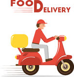 Concept de la livraison de nourriture Illustration plate minimale de vecteur de messager sur le scooter ou la motocyclette Photographie stock libre de droits