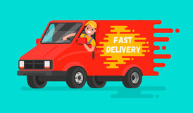 Concept de la livraison rapide des marchandises Le conducteur du camion dans a Image libre de droits
