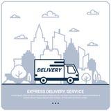 Concept de la livraison de ville La ligne mince a dénommé le camion de livraison Expédition de service de distribution par la voi illustration libre de droits