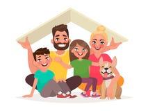 Concept de la maison d'une jeune famille heureuse Papa, mère, fils, d Photographie stock libre de droits