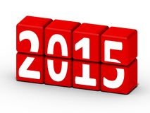 concept de la nouvelle année 2015 avec les cubes rouges Images libres de droits