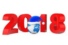 Concept de la nouvelle année 2018 Santa Hat au-dessus de globe de la terre rendu 3d Photos libres de droits