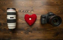 Concept de la photographie affectueuse J'aime la photographie faite de lentille, Photos stock