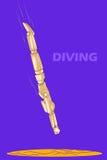 Concept de la plongée avec le mannequin humain en bois Image libre de droits